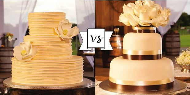 two competing wedding cake styles
