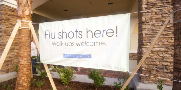 Flu shots here sign. Walk-ups welcome.