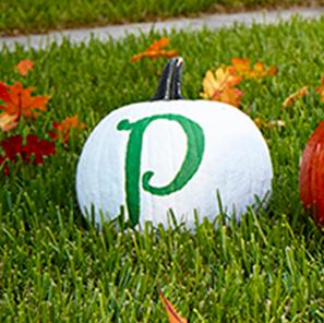 """Publix """"P"""" painted on a pumpkin"""