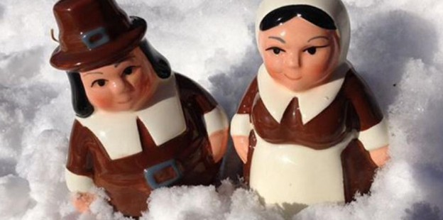 Pilgrim Travels figures in the snow