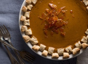 Pumpkin Crème Brulee Pie with Rich Piecrust