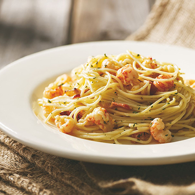 Garlic Herb Langostinos over Pasta