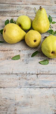 Bartlett Pears on Wood Plank