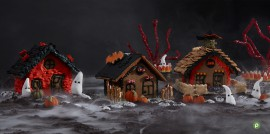 Halloween Gingerbread House Landscape