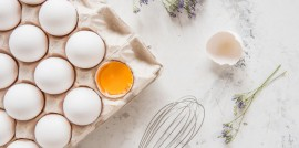 Egg carton on marble table