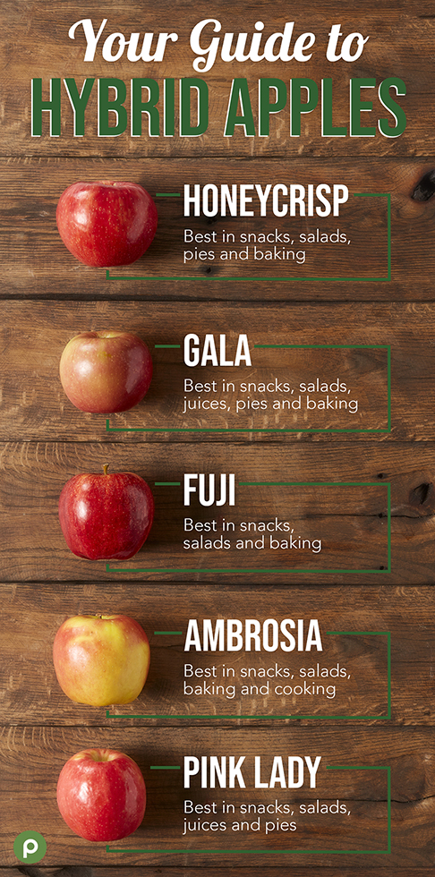 Honeycrisp, gala, fuji, ambrosia, pink lady hybrid apples on wood background with cooking tips