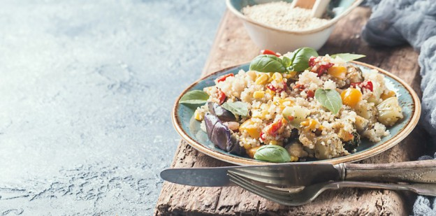Quinoa bowl on table