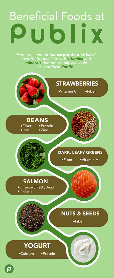 Beneficial foods found at Publix are strawberries, beans, dark leafy greens, salmon, seeds and yogurt.