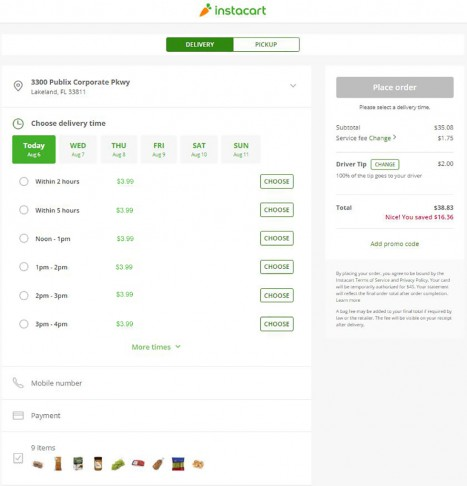 Instacart Delivery Cart