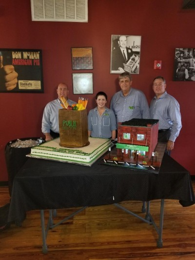 Mr. George's first store. Presented cakes inside the actual store now converted to a restaurant, for the historical marker unveiling. Associates in picture: Chris Moore- bakery RIS, Brittany Lavallee- bakery manager, Don Lovering- bakery RIS, Brian West- media & community relations manager.