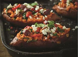 Twice Baked Mediterranean Sweet Potatoes