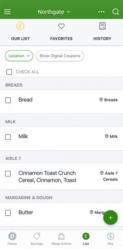 Publix app displaying shopping list including bread, milk, Cinnamon Toast Crunch cereal and butter.