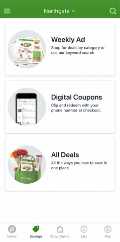 Publix app displaying savings tab for weekly ad, digital coupons and all deals.