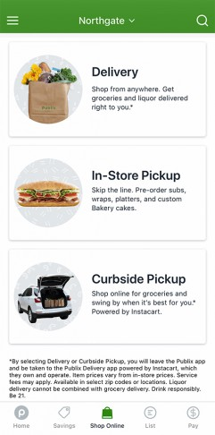 Publix app displaying shop online tab for delivery, curb side pickup and in-store pickup shopping options.