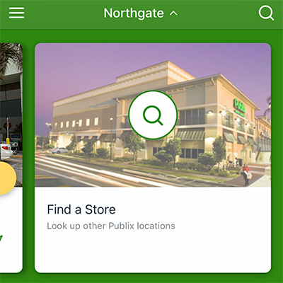 Publix app displaying store locator feature of new app.