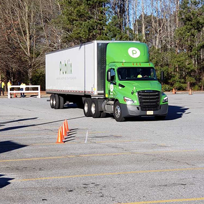 Publix truck and trailer stopped on test course at Atlanta Truck Driving Championships.