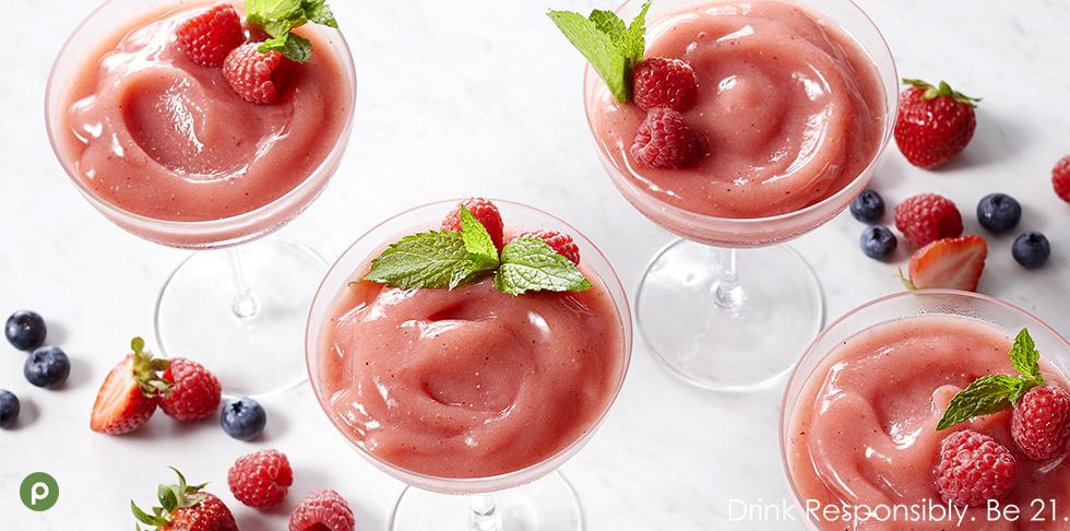 Rosé wine slushies in glasses.