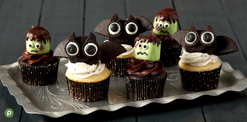 Frankenstein decorated cupcakes, bat decorated cupcakes