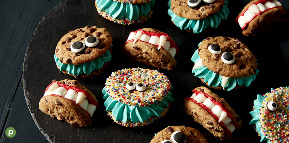 Monster and vampire teeth decorated cookies