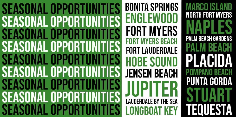 List of seasonal job opportunities cities in Florida