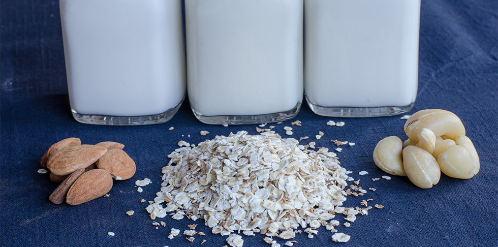"""alt="""" Three jugs of non-dairy milk with one stack of almonds, one stack of oats, and one stack of cashews in front"""""""