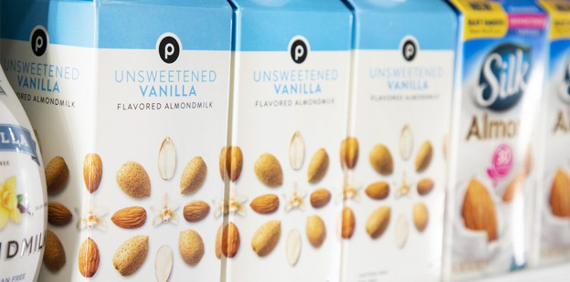 "alt= ""Publix unsweetened vanilla flavored almond milk in blue and white carton"""