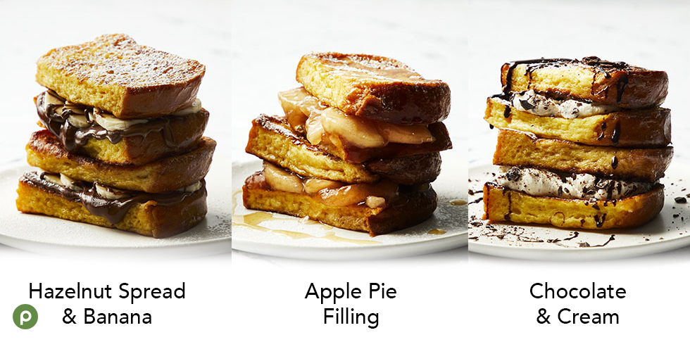 """alt= """"Stuffed hazelnut spread and banana French toast, stuffed apple pie filling French toast and chocolate and cream French toast on white plate."""""""