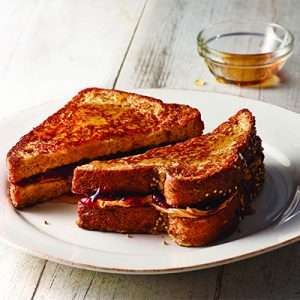 """alt=""""Publix Aprons PB&J French toast recipe with maple syrup."""""""