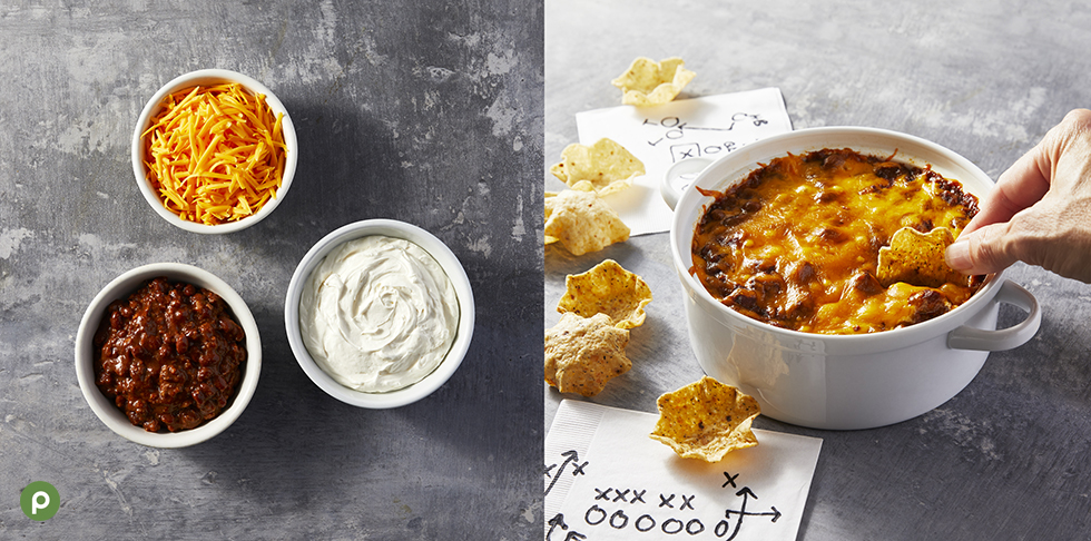 Ingredients shown on how to make chili cheese dip