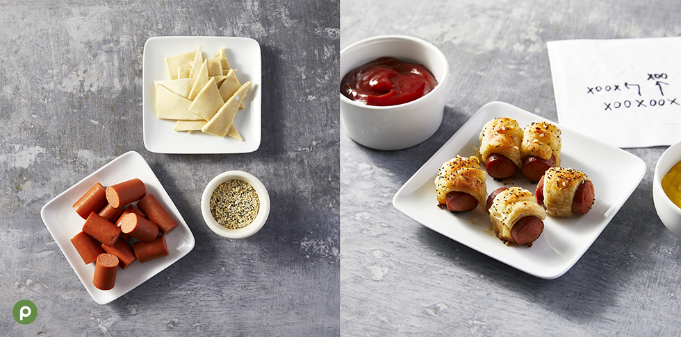Ingredients shown on how to make pigs in a blanket