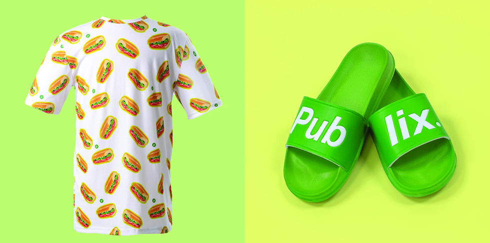 White shirt with chicken tender graphics on it and Green slides with white writing on them