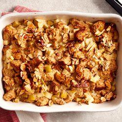 maple apple almond bread pudding