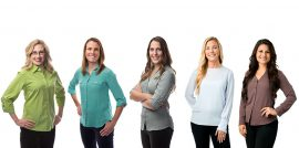 Five Publix dietitians standing in front of a white background