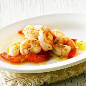 Publix Aprons garlic herb shrimp plated.
