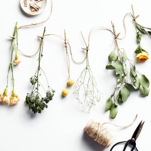 Dried flowers on string with floral scissors