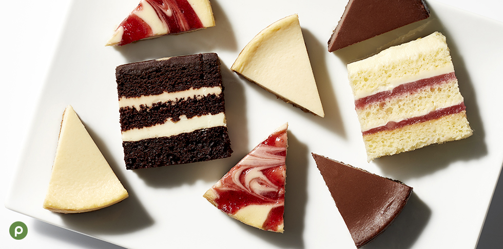 "Alt= ""GreenWise chocolate cake, strawberry shortcake, New York style cheese and strawberry and chocolate New York style cheesecakes on white background."""