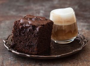 Chocolate brownie on plate