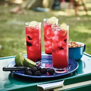 Three tall glasses with Blackberry Lemon Fizz in each, topped with a lime slice and blackberries. Lime slices and blackberries on blue plate to the side of two drinks.