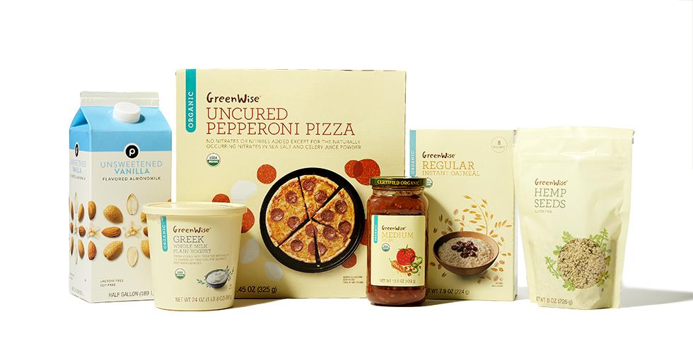 "alt= ""GreenWise pizza, oatmeal, hemp seeds, medium salsa Greek yogurt and Publix unsweetened vanilla almond mild"""