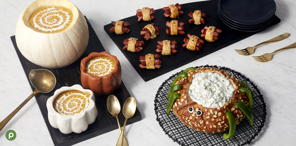 Bread bowl and soup in pumpkin bowls and hot dogs wrapped in crescent rolls