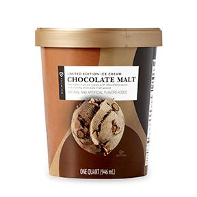 Chocolate malt ice cream carton