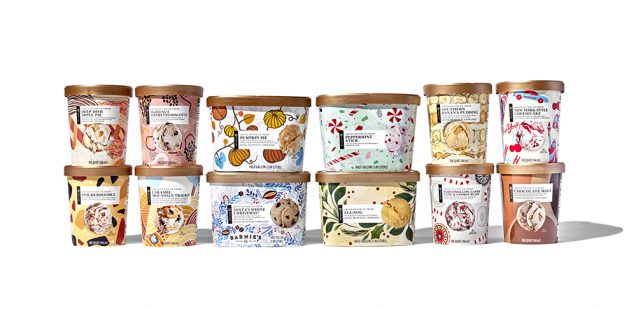 12 Limited time ice cream packages on white background