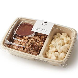 Publix meal with pulled pork, bbq sauce and macaroni and cheese