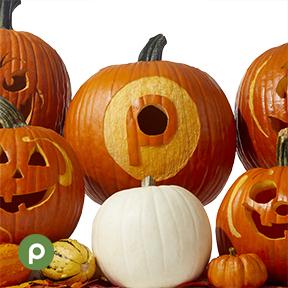Pumpkin with carved Publix logo