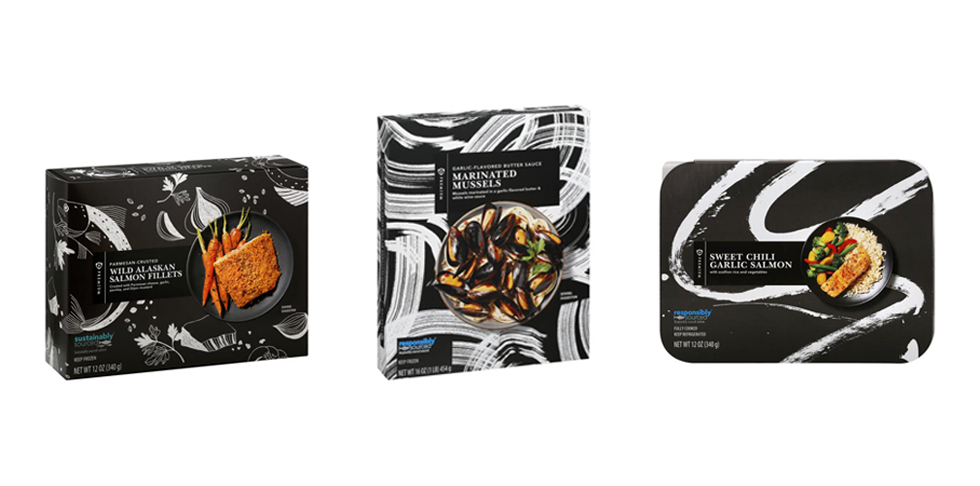Three packages of different seafood items on a black background.