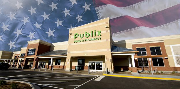 Publix storefront with American flag background