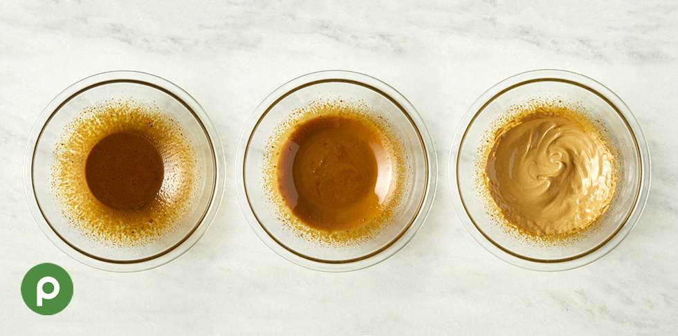 3 glass bowls showing the stages the instant coffee goes through as it is whipped