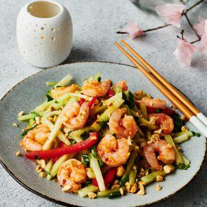 Publix Aprons Recipe Thai Style Shrimp and Melon Salad plated