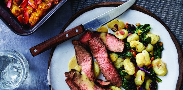 Steaks and Gnocchi with Strawberry-White Chocolate Bread Pudding Publix Aprons recipe