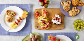 Kid's Easter-themed breakfast.